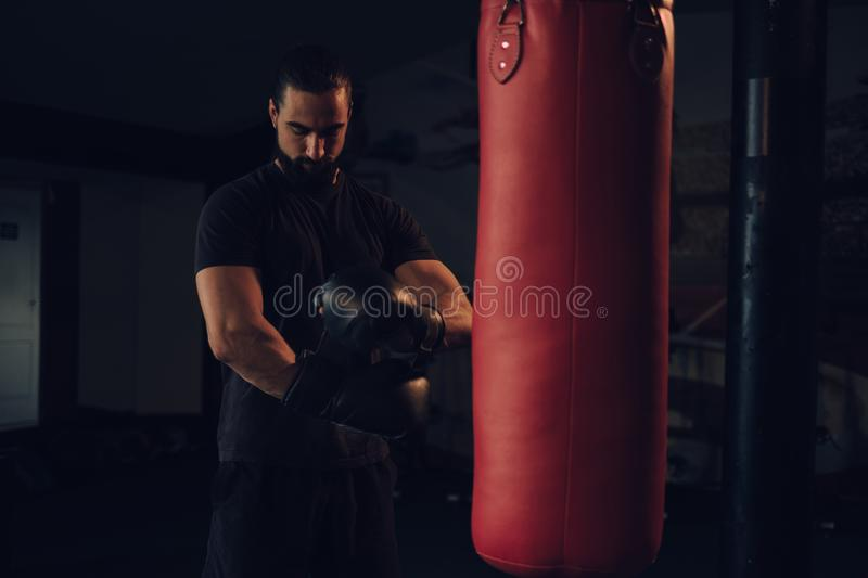 Boxer putting on gloves by the heavy bag stock photography