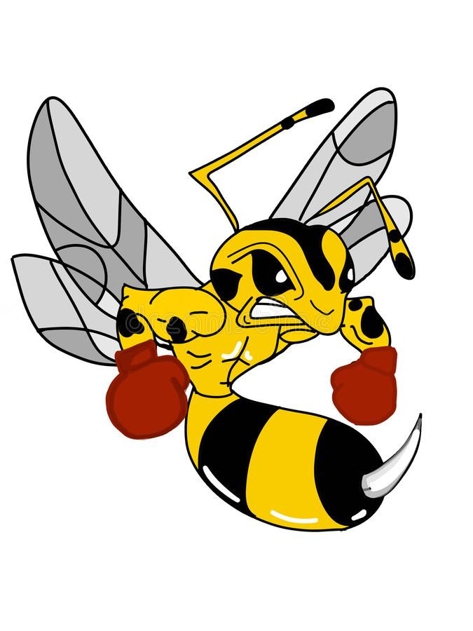 Boxer Bee Mascot characters illustration background stock illustration