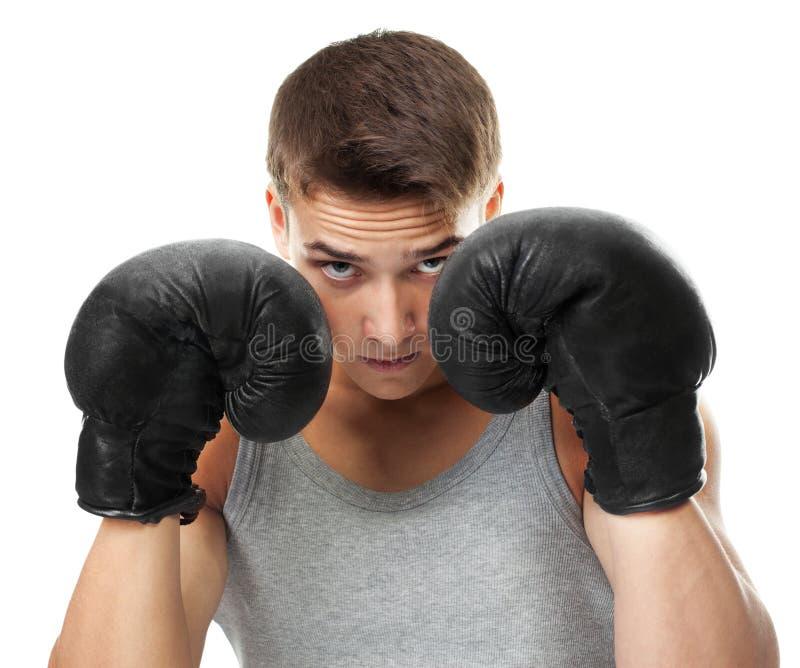 Boxer bereit zum figh lizenzfreie stockbilder