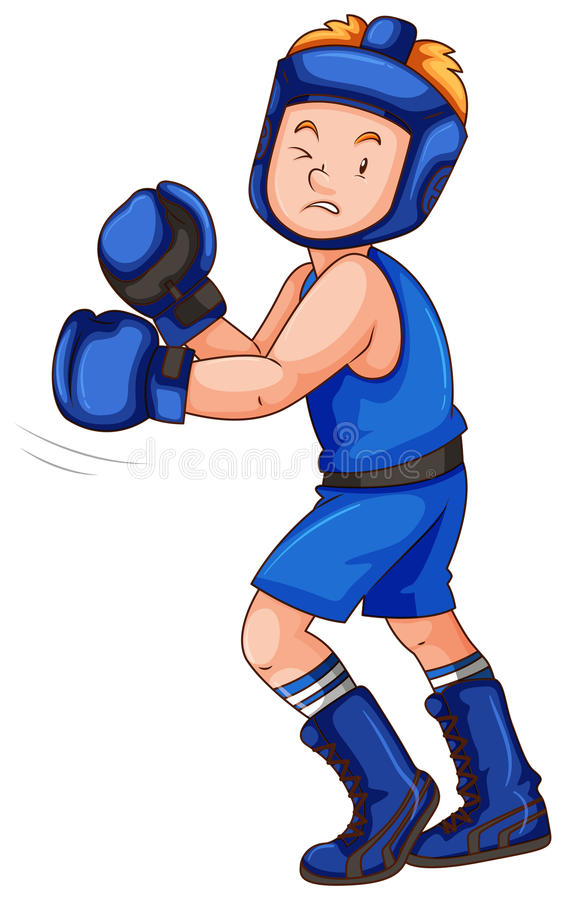 Boxer in blue costume with gloves and guard royalty free stock image