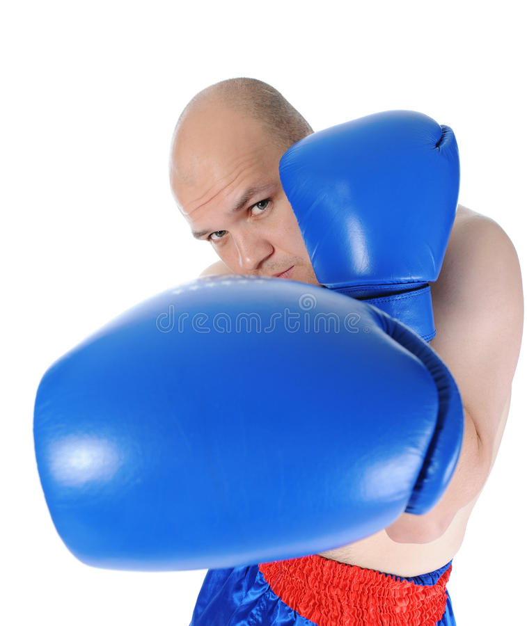 Boxer in blue gloves stock images