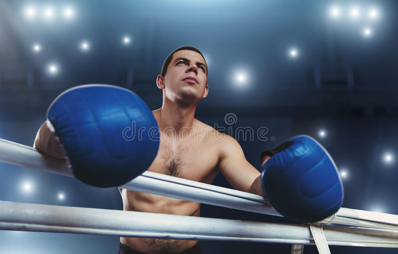 Boxer in blue gloves holds on the ropes. Boxing ring on the background stock photography
