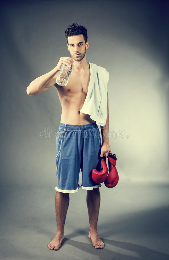 Boxer with bottle of water royalty free stock images