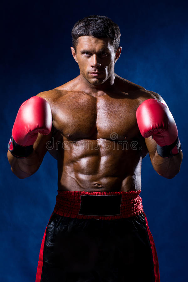 Boxer Boxing staring showing strength. Young man looking aggressive with boxing gloves. Caucasian male model isolated on dark background stock images
