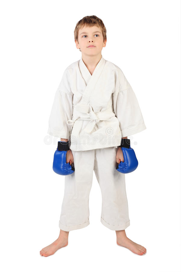Boxer Boy In White Dress And Blue Boxing Gloves Stock Photo
