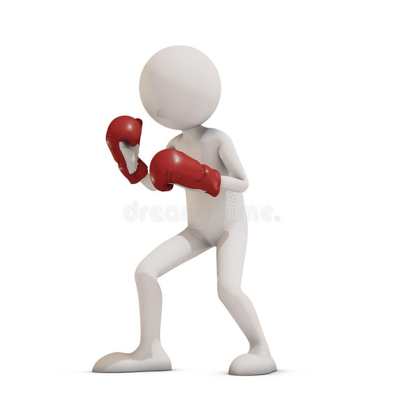 Boxer 3d man vector illustration