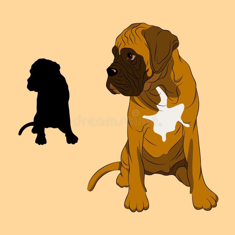 Boxer dog puppy realistic vector illustration stock illustration