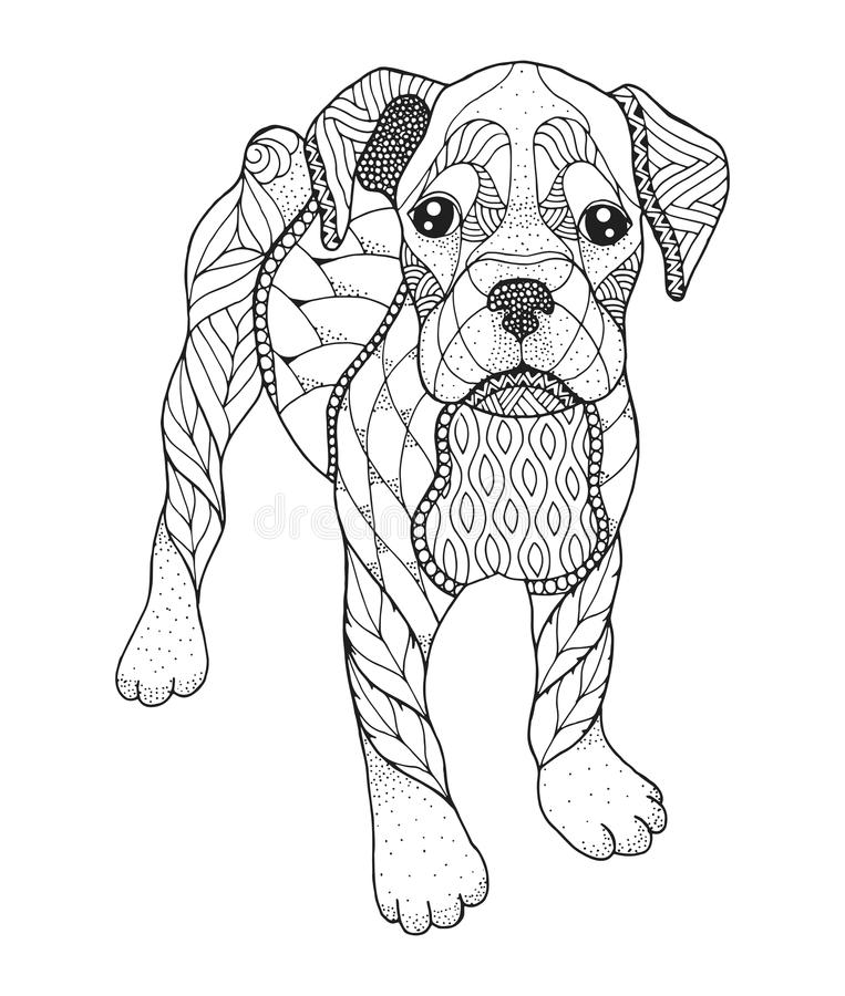 Download Boxer Dog In Zentangle And Stipple Style Vector Illustration Stock