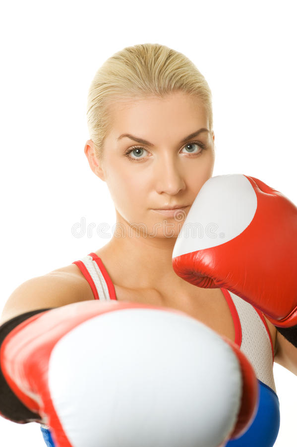 Boxer girl. Portrait of a boxer girl stock photography