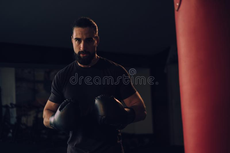 Boxer with gloves standing by the heavy bag stock image
