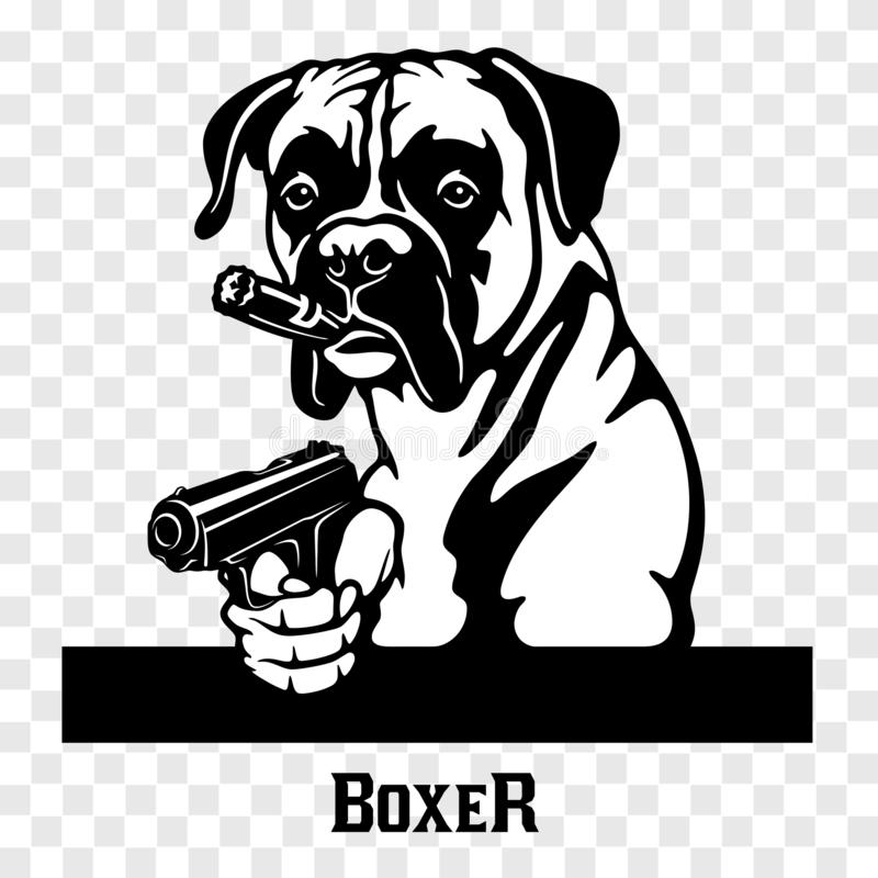 Boxer with guns - Boxer gangster. Head of angry Boxer stock illustration