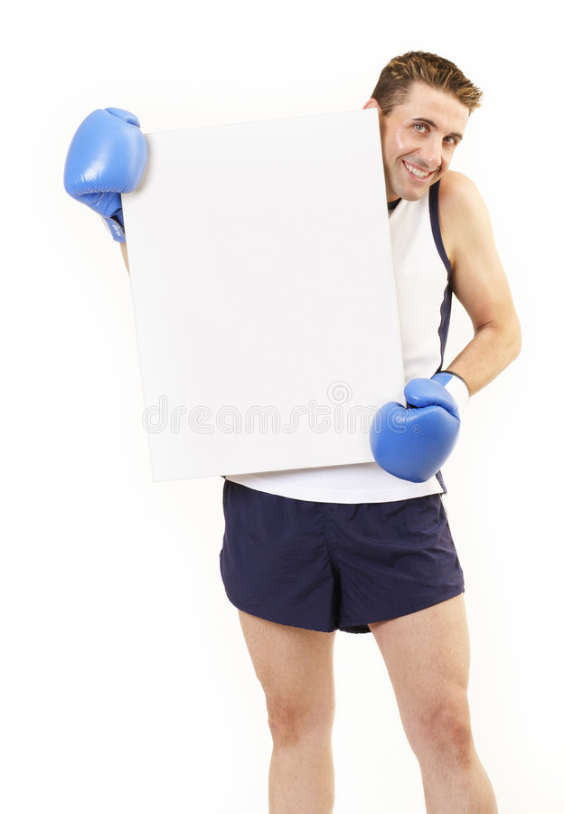 Boxer holding board 2 stock image