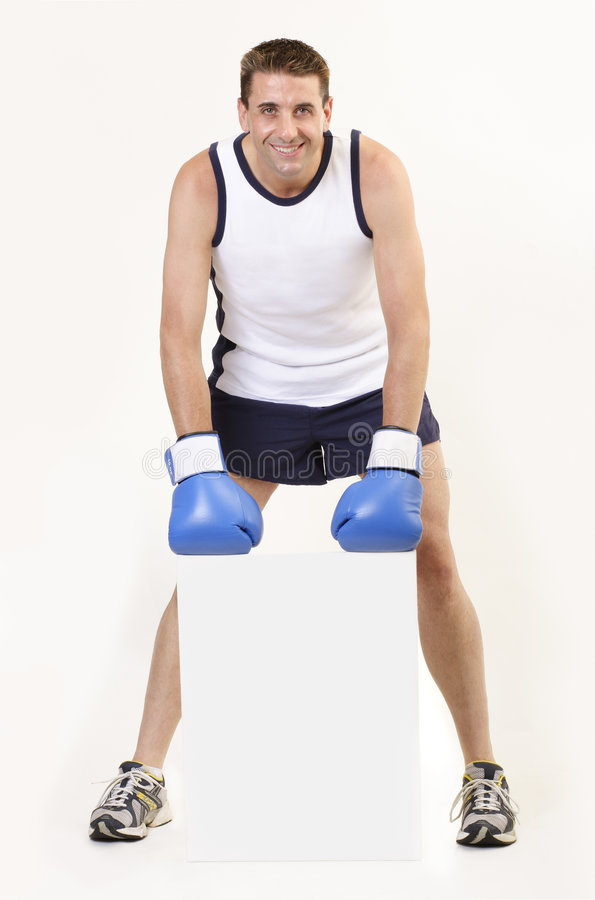 Boxer holding board 3 stock photography