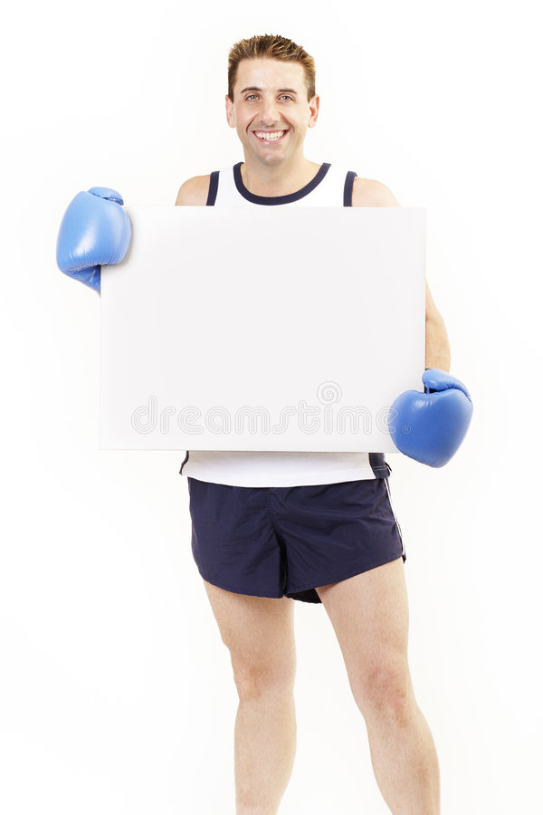 Boxer holding board stock photo