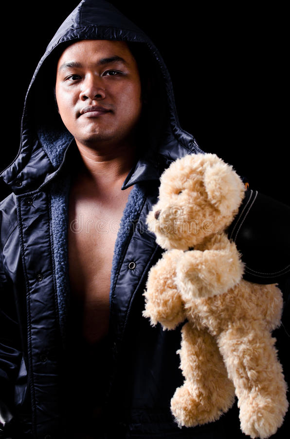 Boxer holding teddy bear stock image