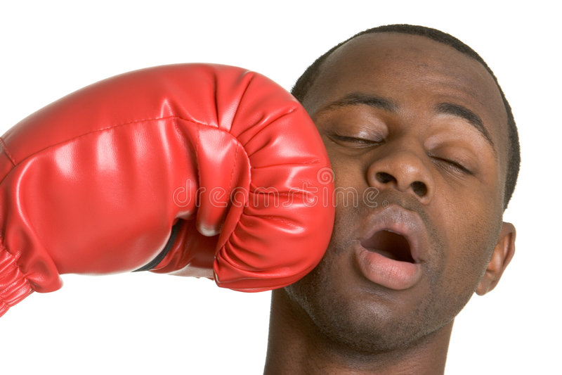 Boxer Knockout. Isolated african american boxer knockout royalty free stock photos