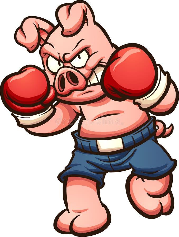 Boxer pig vector illustration