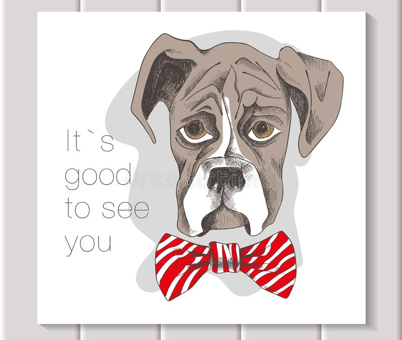 A boxer puppy with a red bow royalty free illustration