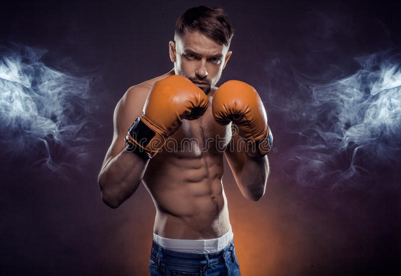 Boxer ready to fight royalty free stock image