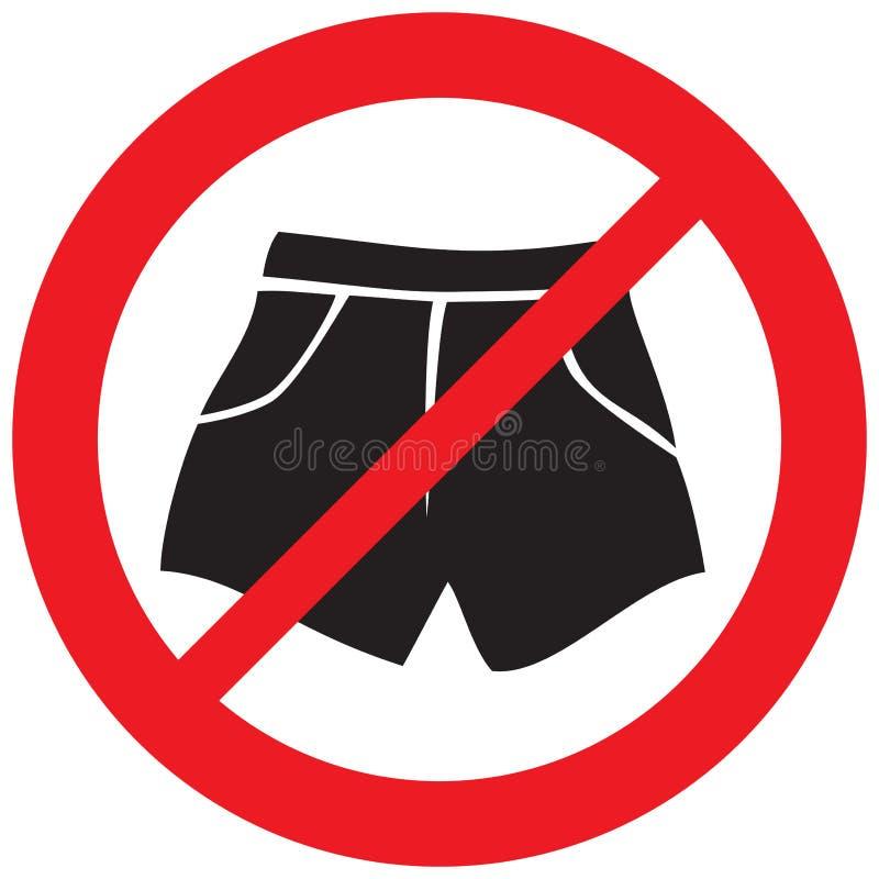 Boxer shorts not allowed symbol stock illustration