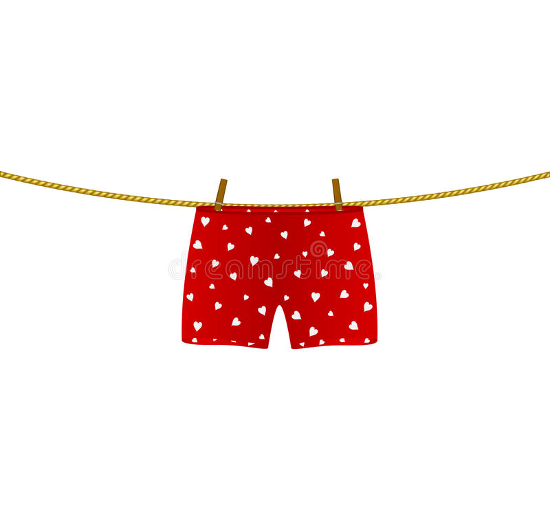 Boxer shorts with white hearts hanging on rope stock illustration