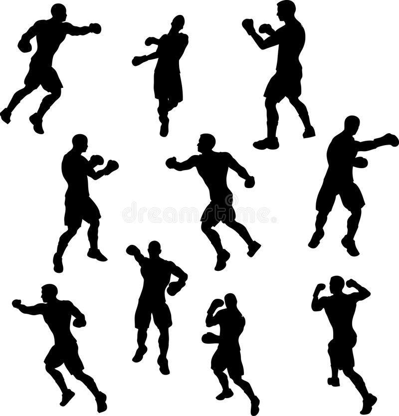 Download Boxer Silhouettes stock vector. Image of boxing, vector - 9888785