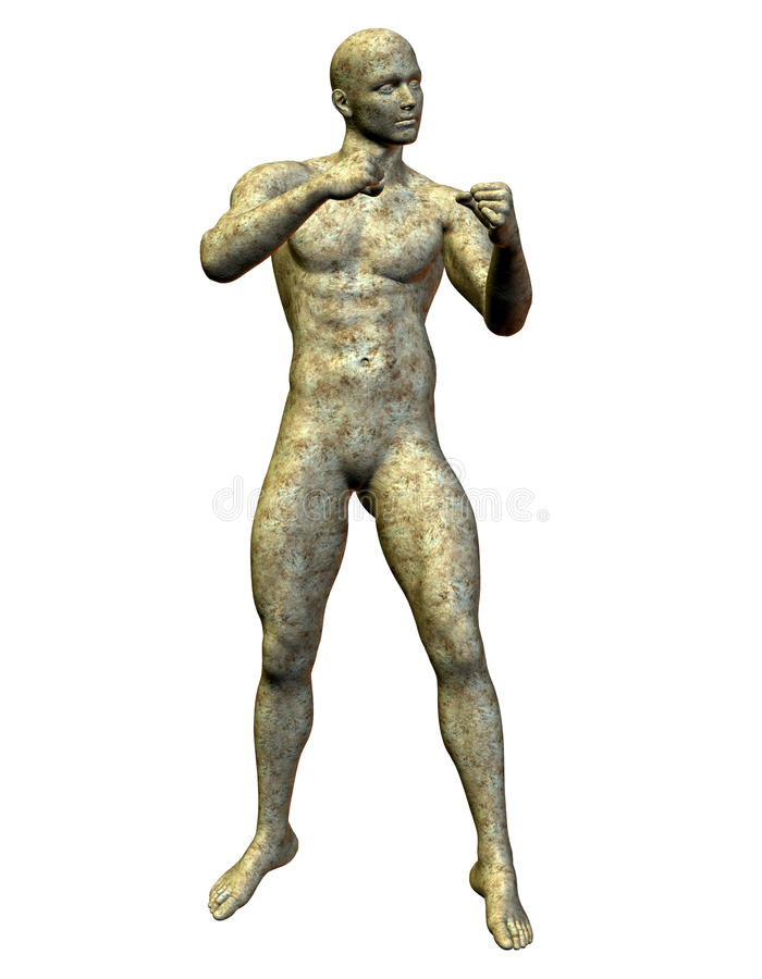 Boxer statue made of stone royalty free illustration