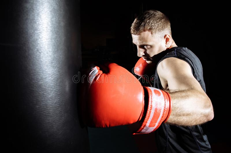 Boxer training on a punching bag in the gym royalty free stock photos