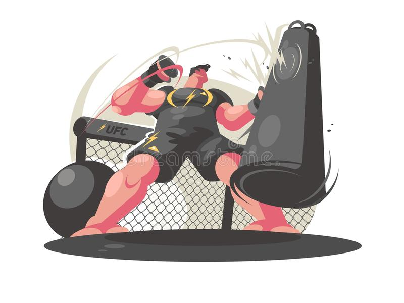 Boxer trains in gym. Guy beats punching bag. Vector illustration royalty free illustration
