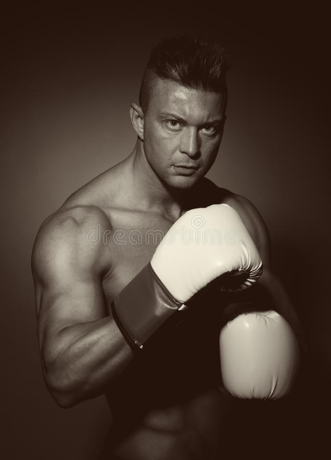 Download Boxer with white gloves stock image. Image of determination - 40498019