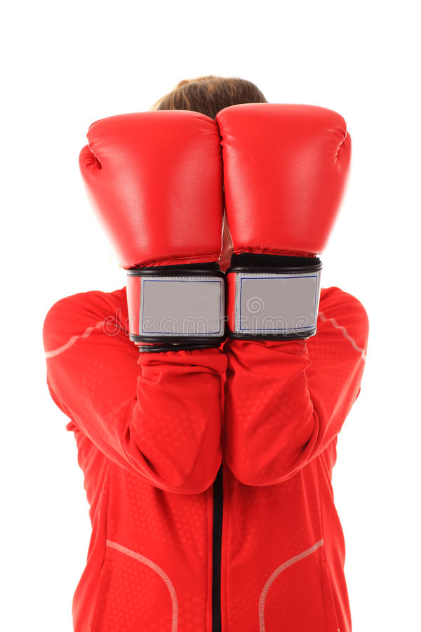 Boxer Woman With Red Boxing Gloves Cover Face Isolated On White Royalty Free Stock Photography