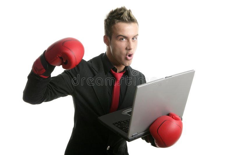 Download Boxer Young Businessman With Laptop Stock Photo - Image: 8416100