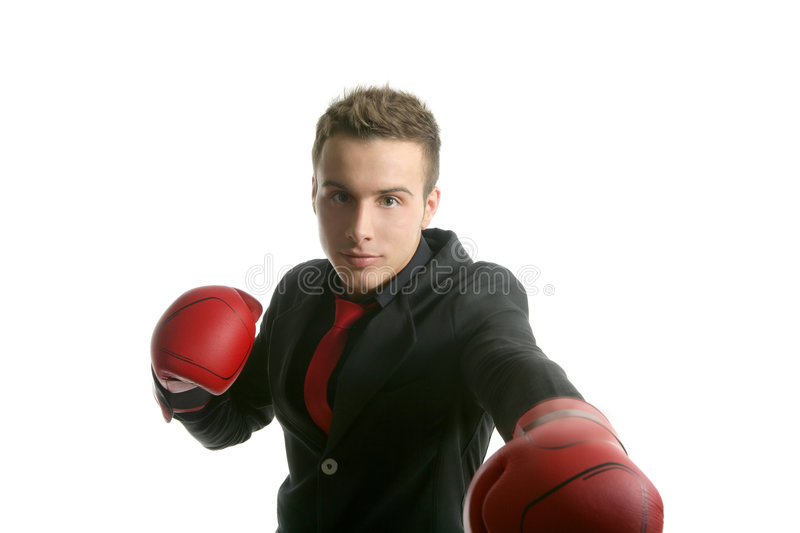 Boxer young competitive businessman isolated. On white stock photography