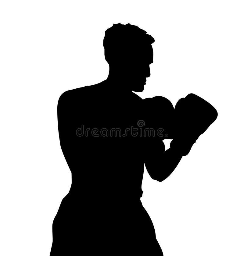 Boxerathlet auf Ring lizenzfreie abbildung