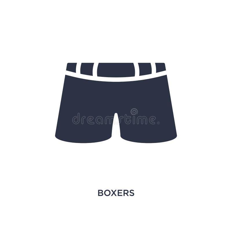 Boxerikone auf weißem Hintergrund Einfache Elementillustration vom Kleidungskonzept stock abbildung