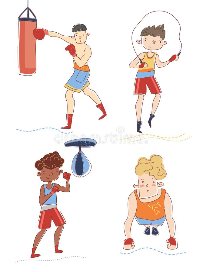 Boxers training in gym. Four young sportsmen is doing different exercise. Concept of professional sport. Guys preparing royalty free illustration