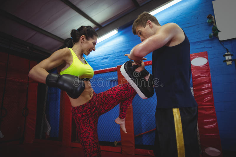 Boxers using focus mitts during training royalty free stock images