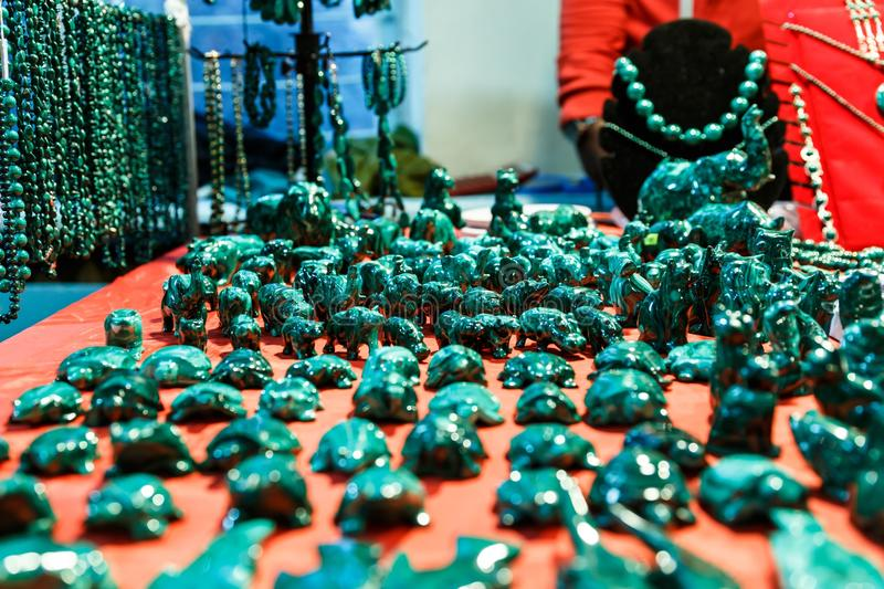 Boxes and accessories from malachite. Beautiful green boxes and accessories from malachite royalty free stock photo