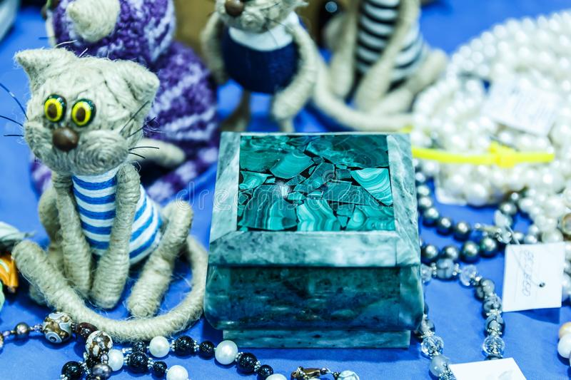 Boxes and accessories from malachite. Beautiful green boxes and accessories from malachite stock image