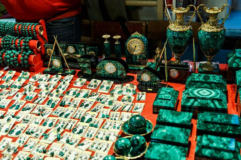 Boxes and accessories from malachite. Beautiful green boxes and accessories from malachite stock photo