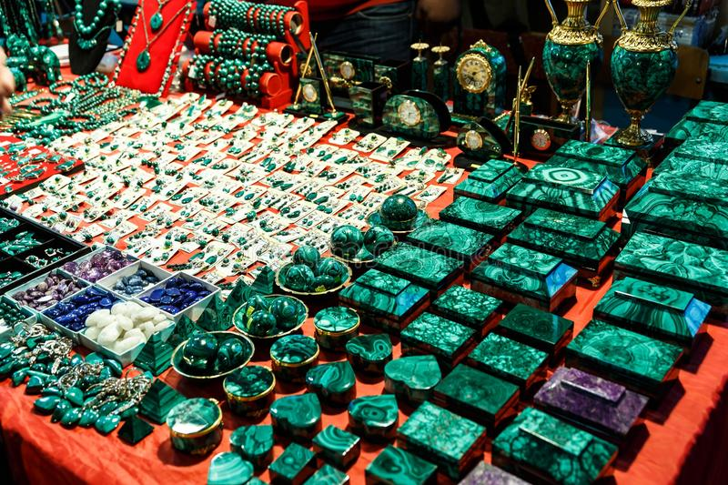 Boxes and accessories from malachite. Beautiful green boxes and accessories from malachite stock images