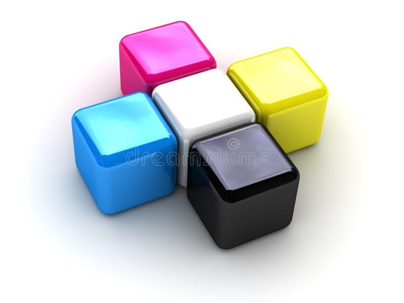 boxes cmykkorset vektor illustrationer