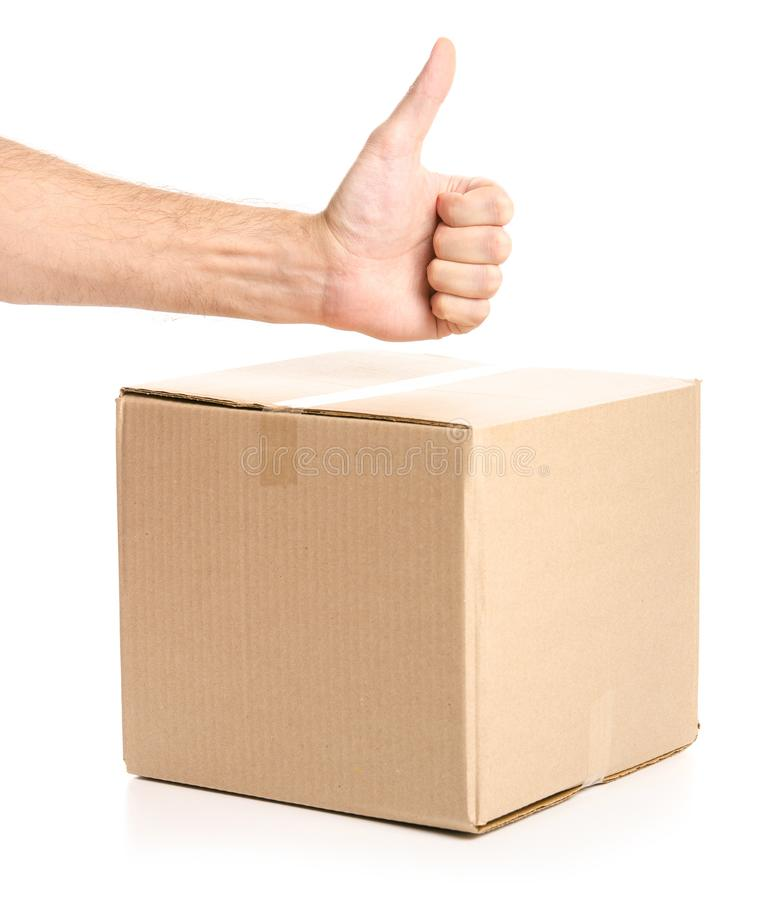 Boxes delivery in hand good super. On white background isolation stock photography