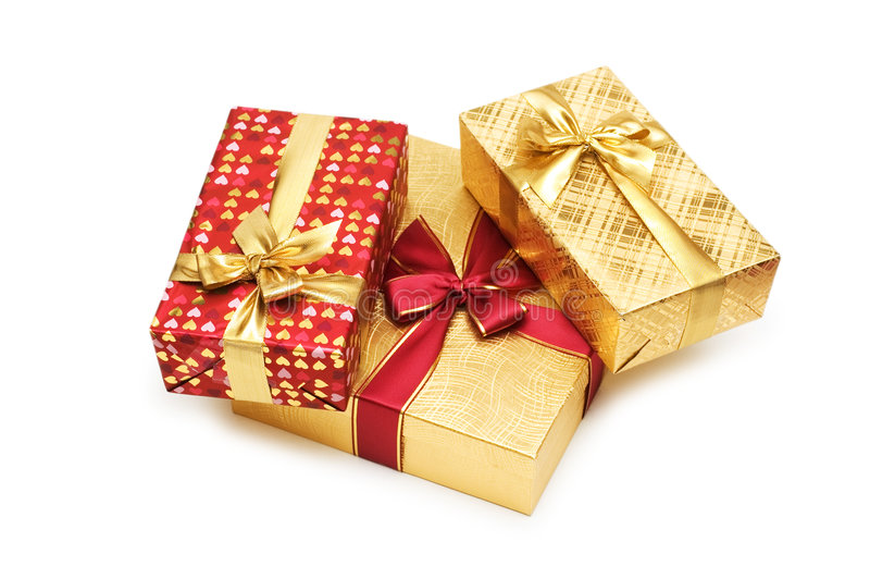 boxes den isolerade gåvan royaltyfri foto