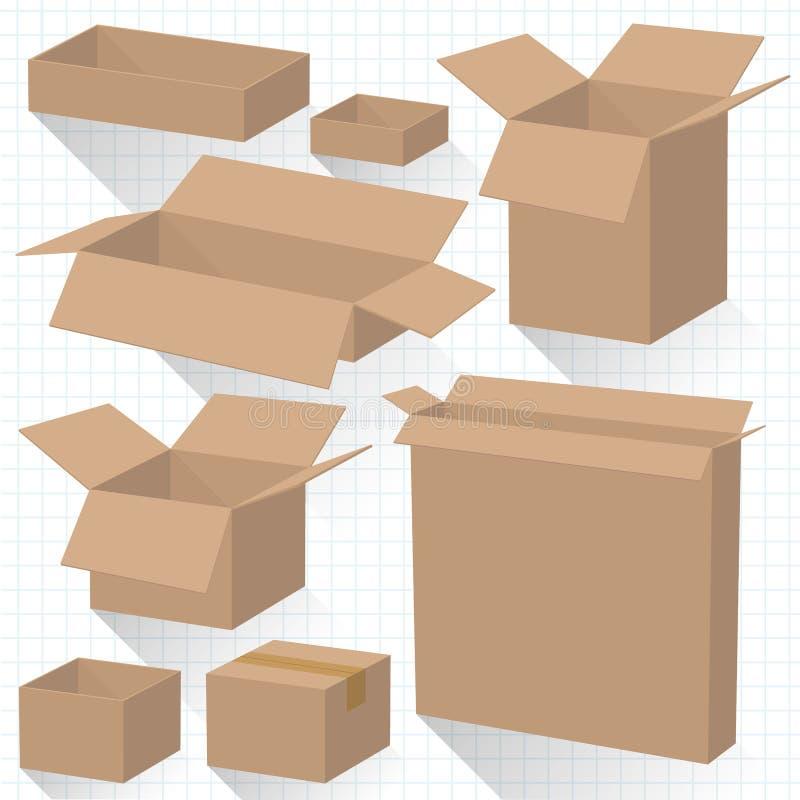 boxes den papp stängda öppnade vektorn royaltyfri illustrationer
