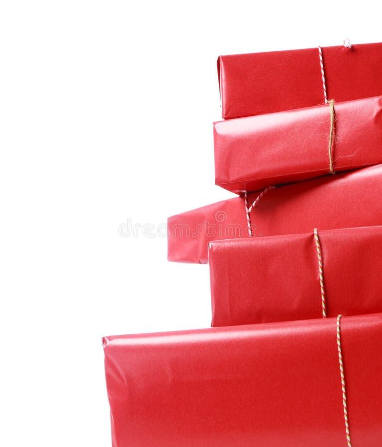 boxes den röda bunten för gåvan arkivbild
