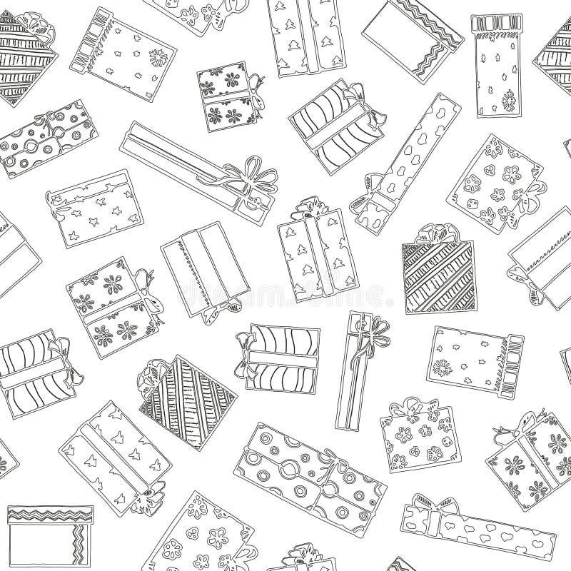 boxes den seamless gåvamodellen Handteckningsuppsättning med gåvor Gåvor för olika ferier På helgdagsafton för ` s för nytt år ju royaltyfri illustrationer