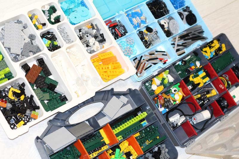 Boxes with details from the designer. Designer for the assembly of robots. Robotics stock photos