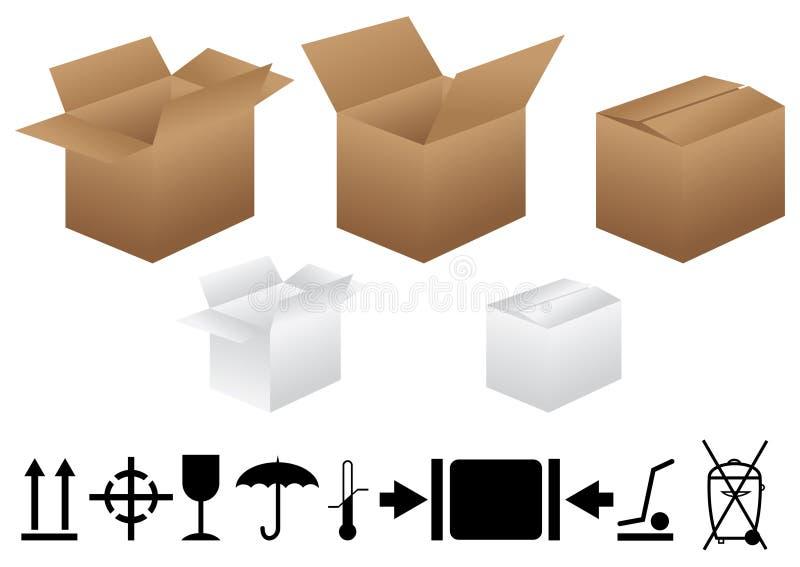 boxes emballage tecken royaltyfri illustrationer