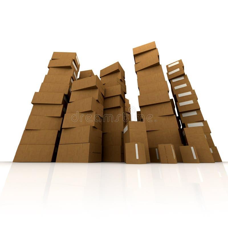 boxes enorma staplar för papp vektor illustrationer
